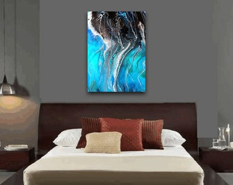 Abstract Painting | Ocean Seascape | Large Canvas Print | Resin Art | Extra Large Wall Art | Coastal Painting | Giclee Print | Beach Decor