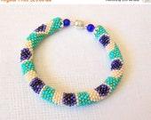 15% SALE Beadwork - Beaded Crochet Bracelet - Colorful Peacock - Bead Crochet Bracelet - Seed beads jewelry
