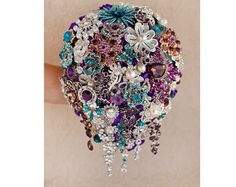 Cascading Brooch bouquet. Teal, Purple and Silver wedding brooch bouquet, Jeweled Bouquet