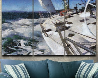 Sailing Away Canvas Gallery Wrapped Painting Wall Decor Triptych