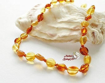 Baltic Amber Necklace For Babies and Children - Teething Necklace -  Multicolored Amber -  Screw or Safety clasp - Choose Your Length, K-18