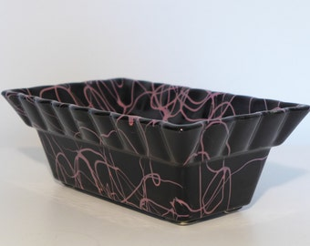 Black Hull Pottery Planter with Pink Squiggle Paint Drip Mid Century Ceramic Plant Holder Vintage Kitsch Retro Decor Hollywood Regency