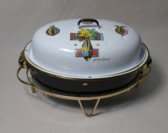 Georges Briard Chafing Dish with Lid and Brass Stand Enamel Handled Casserole Vegetable Flower Design Signed Mid Century Dining