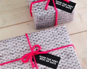 Gift Wrap Set - Knitted wrapping paper, tags and wool - wrapping paper, wool, knitting gift wrap, birthday wrap, new baby gift wrap