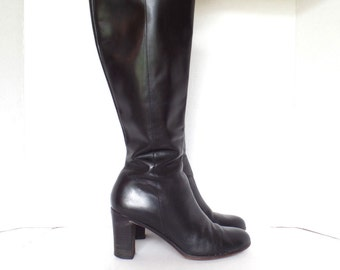Ann Taylor Boots, High Heel Boots, Black Leather Boots, Knee high boots, High fashion boots, Size 7.5 m