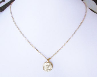 K personalized girlfriend, K initial gold plated jewelry, unique K single coin necklace, K letter charm choker for women, K monogram gifts