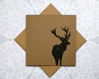 Stag greetings card | deer card | Birthday | thank you| Christmas card | animal card | linocut print | handmade | blank card | kraft card