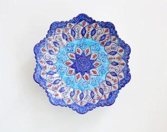 Decorative mina-kari plate- copper enamel hand painted Persian art