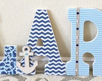 Custom Nursery Letters, Nautical Baby Boy Nursery Decor, Whale, Ocean, Wooden Letters, Wall Letters, Hanging Letters, The Rugged Pearl