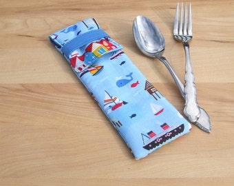 Utensil Pouch - cutlery carrier - silverware pouch - picnic pouch - lunch bag accessory storage - eyeglass case - mini marina cruise ship