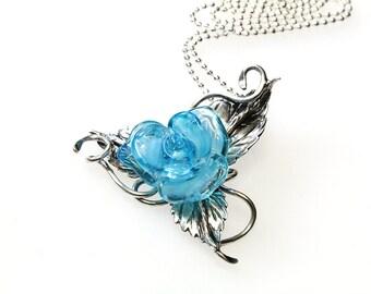 Sterling Silver Pendant  Blue Rose, lampwork, sterling silver 925 sra
