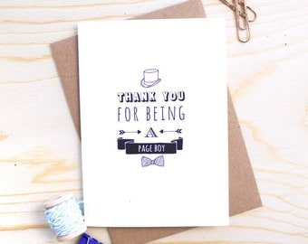 Page Boy Card - Thank You Card - Page Boy Thank You - Wedding Thank You Card - Card for Ring Bearer