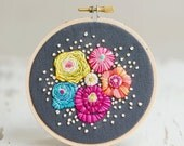 "4"" Embroidery Hoop - Lovely Flowers on Grey Linen - Home Decor - Hand Stitched Art - Wall Decor"