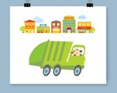 Kid's Garbage Truck 'Happy Busy World' Nursery Playroom Bedroom Wall Decor Art Print For Baby And Young Child Great Fun Gift