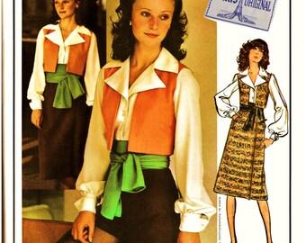 70's Vogue PARIS Original Pattern 2561 w LaBeL Guy LaRoche FAB Matador Vest w Hot Pants & Sash Vintage Vogue Haute Couture Sewing Pattern