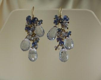 "redo Blue quartz and kyanite earrings 14k gold filled about 1.5"" total gemstone handmade item 524"