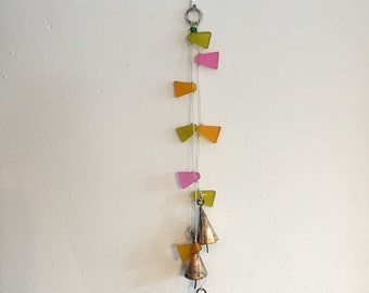Hanging Bells Whimsy Butterfly Chimes Colorful Flags Bells String of Bells