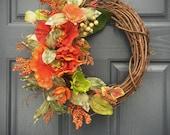 Orange Wreaths, Spring Decor, Spring Door Wreaths, Orange Door Wreath, Floral Wreaths, Floral Spring Decor