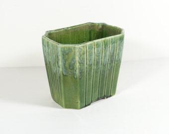 Upco Planter - Tall Green Ceramic Drip Glaze Planter - Vintage Planter Vase Upco 038 - Mail Holder