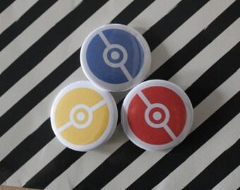 Pokemon Go Pokeball Blue, Yellow, & Red Magnet OR Pinback Button