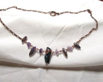 Titanium Aura Quartz Amethyst Necklace Gemstone Pendant Wire Wrapped Teal Blue Stone Chunk Copper Wire Wrapping Gemstone Necklace