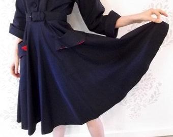 VINTAGE BLUE DRESS 1950s Navy Belt Pockets Size Small
