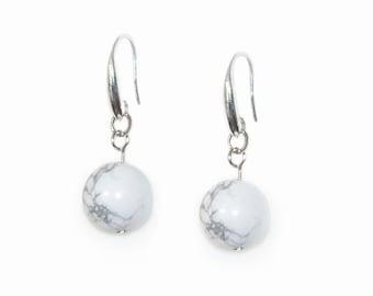 Marble ball silver drop dangle earrings