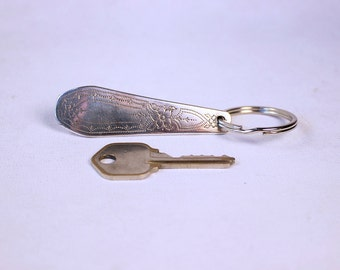 Key Chain - Upcycled Vintage Silver Plated Silverware Keychain with Split Ring