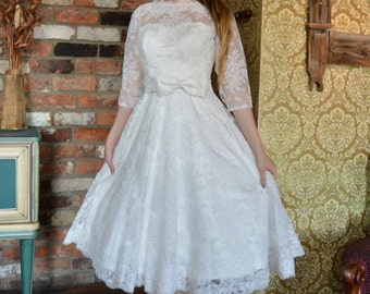Coral 1950's style Wedding Dress