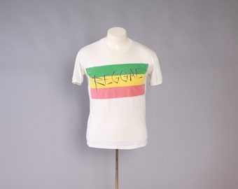 Vintage 80s REGGAE T-SHIRT / 1980s Soft Thin Thrashed Distressed Tshirt Tee