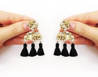 Glitter Aztec Tassel Earring Boho style