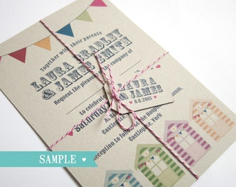 Beach Hut Wedding Invitation Eco - SAMPLE