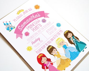 Princess Birthday Party Invitation, Princess Party, Children's party Invitations