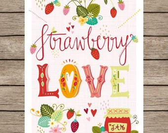 Art Print - Strawberry Love - A4 - 210x297 mm