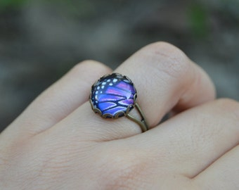 Butterfly wing ring, spring ring vintage purple butterfly ring, purple ring insect jewelry, nature jewelry, butterfly jewelry