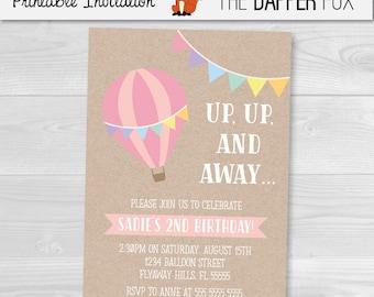 Hot Air Balloon Kraft Birthday Invitation Girls Birthday Invitation - Printable - First Birthday kraft paper Rustic Invitation Pastel