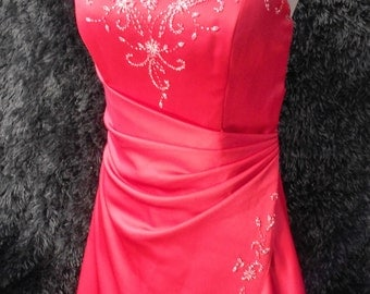Red satin evening dress ballgown prom party bridesmaid wedding all lined wih zip up back beaded sequin pleated skirt & bodice detail
