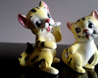 Vintage Porcelain Cat Duo / Yellow with Black Stripes / Red Bows/ Pink Ears / Cat Figurine