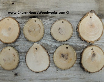 25 wood slice ornaments, 2.5 inch with holes, tree branch slices, pendants, wood jewelry, rustic weddings, Christmas decor, wood  tags