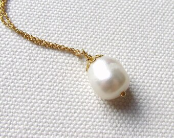 Single Fresh Water Pearl Necklace 14k Gold Fill or Plate Chain Simple Wedding Jewelry Bridesmaid Gift Ivory Pearl