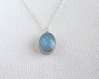 Alice Blue Crystal Necklace, Sterling SIlver Necklace, Chunky Glass Pendant Sterling Silver Chain, Minimalist Jewelry, Faceted Stone