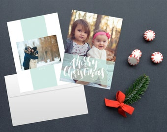 Watercolor Christmas card, photo card, photo christmas cards, custom christmas card, printable christmas cards, multiple photo card