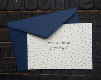 Letterpress card 'Will you be my Page Boy?'