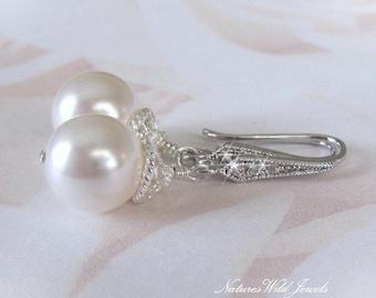 Cubic Zirconia Bridal Earrings, Pearl Earrings, Ivory or White Pearl Drop Earrings, CZ Wedding Earrings, For The Bride, Wedding Jewellery