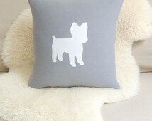 Yorkie Pillow Cover - Luxe Gray Linen & White