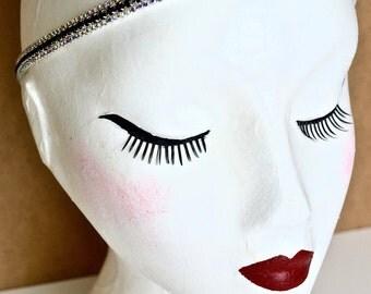 1920s Black Aurora Borealis Silver Rhinestone Diamante Headband Bridal Downton Beau Flutterby