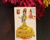 Vintage Embroidered Postcard, Beautiful Spanish Lady, UNUSED, Malaga Spain, Yellow Dress, Femme Fatale, Mid Century 1950s, Embroidery