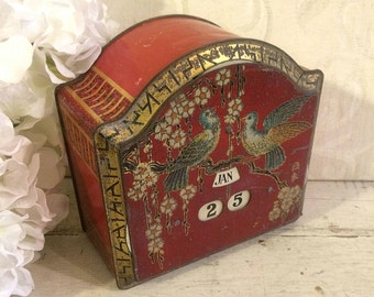 1920s Calendar Confection Tin Box, Vintage Tin Box, Red, Asian Art, Bassett, Red Clock, Red Trinket Box
