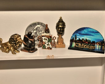Dollhouse Miniature Statues Home Decor, Choice of Gold Lion, Madonna Mother and Child, Lily Bottle or Chicago Skyline, 12th Scale