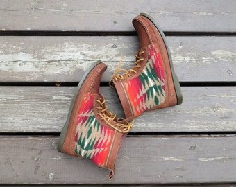 Vintage Moccasin Boots Genuine Leather with Woven Wool Print Women's US Size 8 1/2 or EU 39
